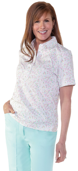 Petite Short Sleeve Print Polo Shirt | Crystal Light 33B