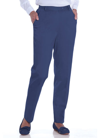 Petite Stretch Twill Flat Front Pant</br>Admiral 480 - Leonlevin