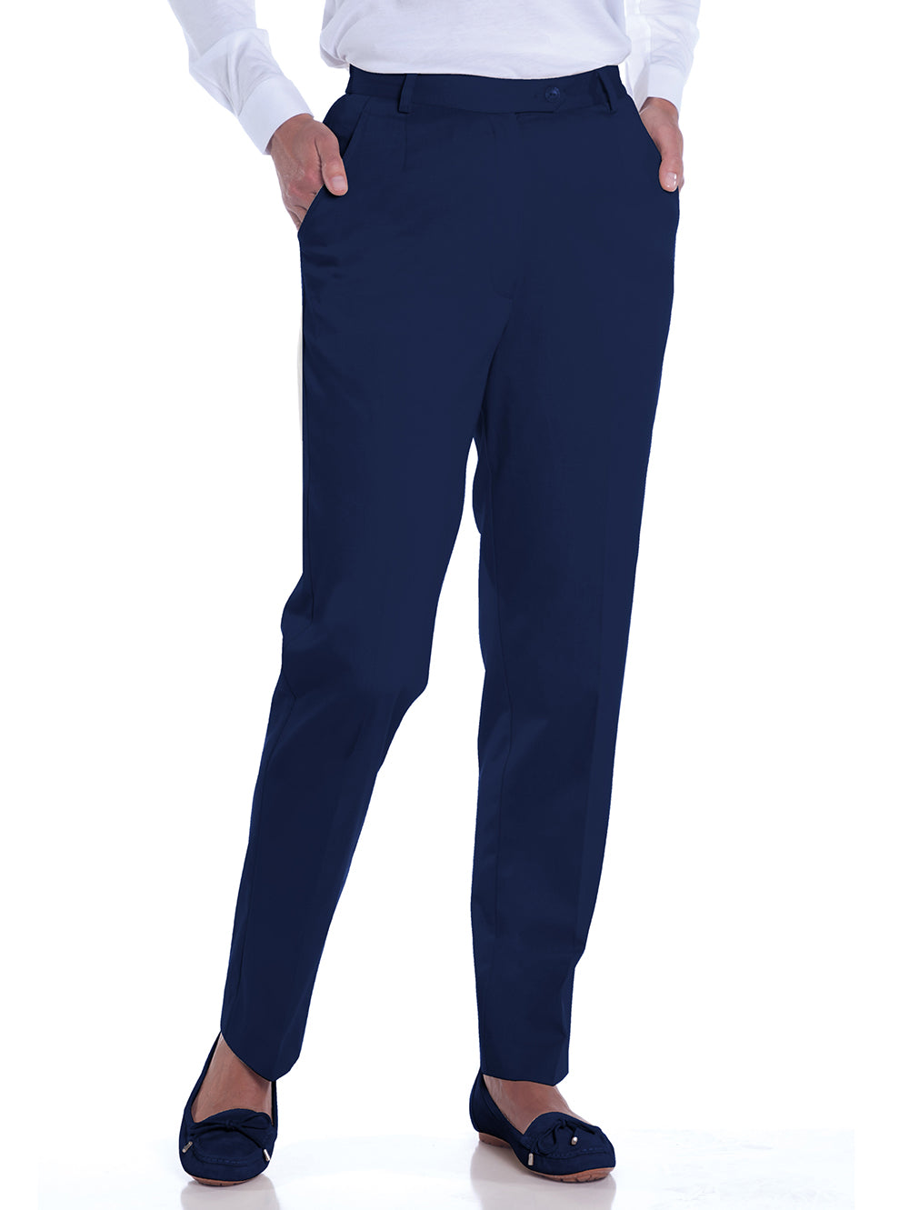 Stretch Twill Flat Front Pants</br>Ink E76