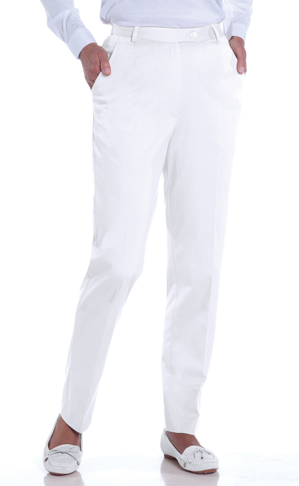 Petite Stretch Twill Flat Front Pant | White_000 - Leonlevin