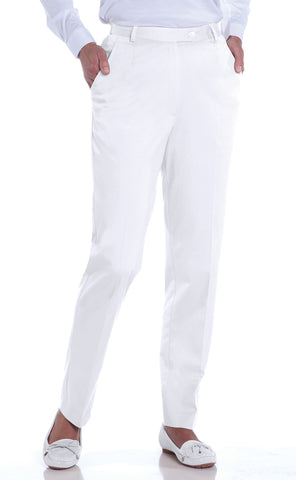 Petite Stretch Twill Flat Front Pant</br>White_000 - Leonlevin