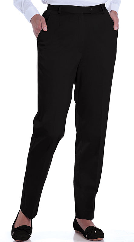 Petite Stretch Twill Flat Front Pant</br>Black 090 - Leonlevin