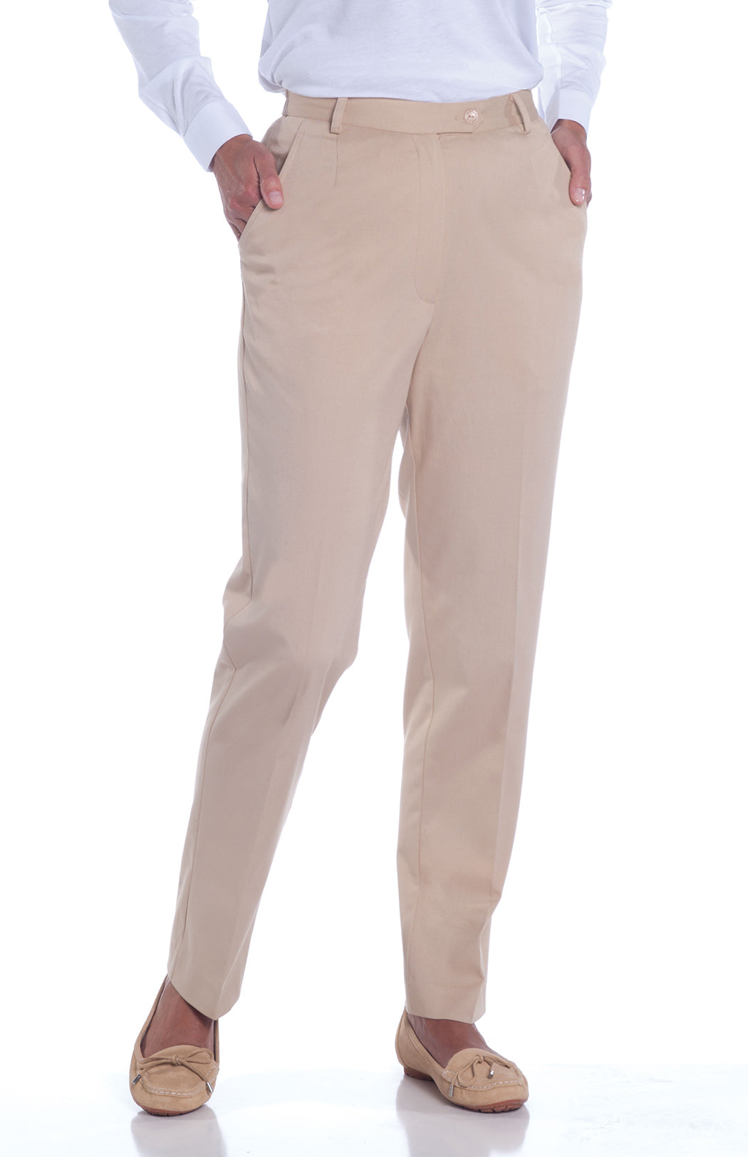 Stretch Twill Flat Front Pants | Sand S50 - Leonlevin
