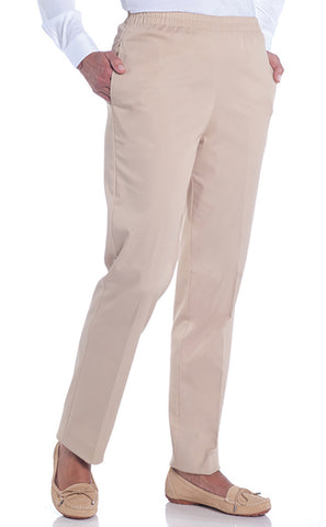 Petite Stretch Twill Pull-On Pant | Sand S50 - Leonlevin