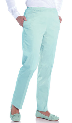 Petite Stretch Twill Pull-On Pant</br>Aqua Glass 612 - Leonlevin