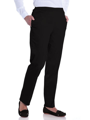 Petite Stretch Twill Pull-On Pant | Black 090 - Leonlevin