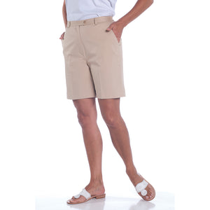 Stretch Twill Flat Front Shorts</br>Sand S50