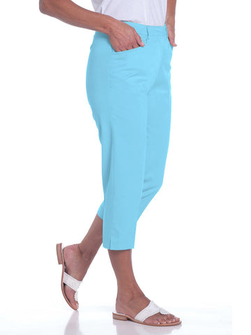 Stretch Twill Flat Front Capris</br>Atlantis