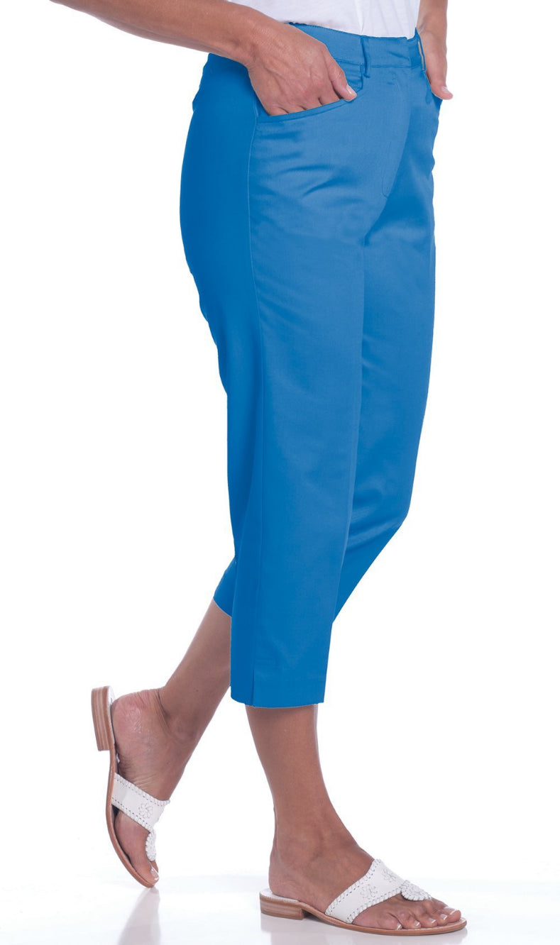 Stretch Twill Flat Front Capris</br>Bright Admiral 20C