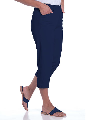 Stretch Twill Flat Front Capris | Ink E76 - Leonlevin