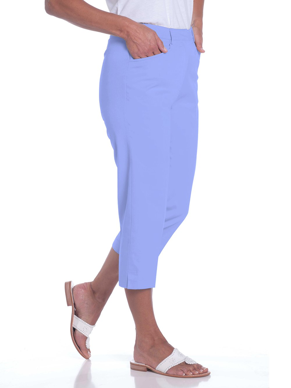 Stretch Twill Flat Front Capris | Periwinkle 094 - Leonlevin