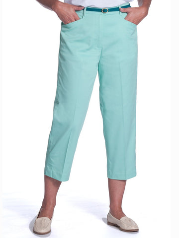 Stretch Twill Flat Front Capris</br>Sea Breeze 092 - Leonlevin