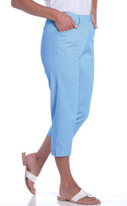 Stretch Twill Flat Front Capris | Wedgewood 20P - Leonlevin