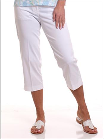 Stretch Twill Flat Front Capris | White 000 - Leonlevin