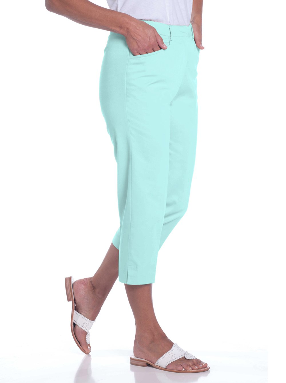 Stretch Twill Flat Front Capris</br>Aqua Glass 612