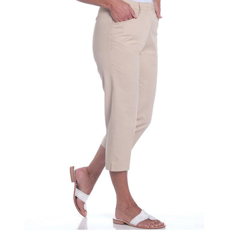 Stretch Twill Flat Front Capris | Sand S50 - Leonlevin