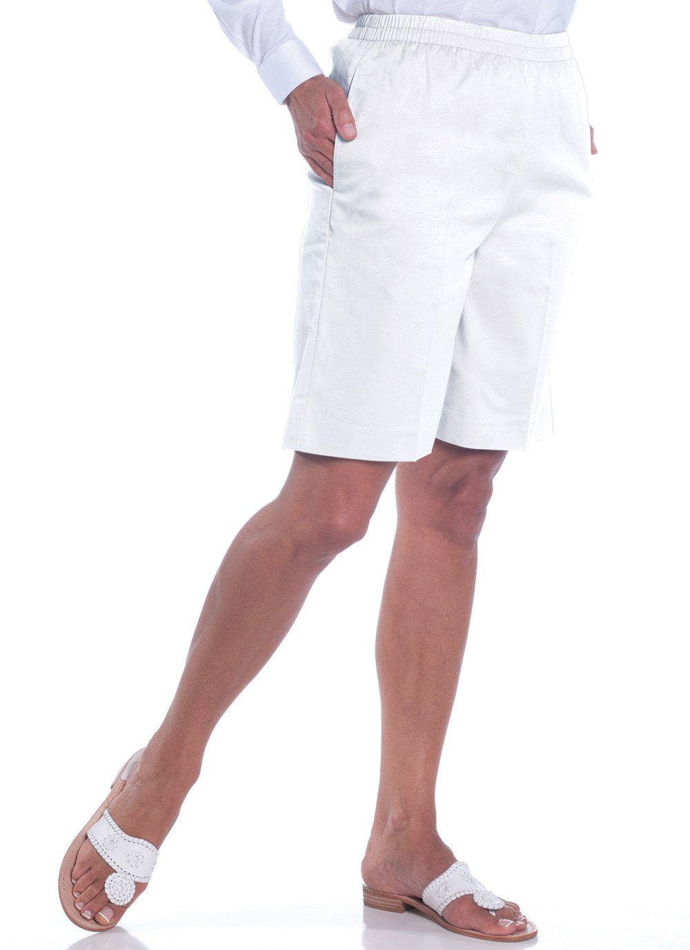 Stretch Twill Pull-On Shorts | White 000 - Leonlevin