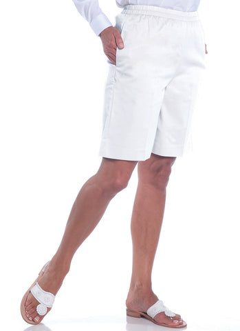 Stretch Twill Pull-On Shorts</br>White 000 - Leonlevin