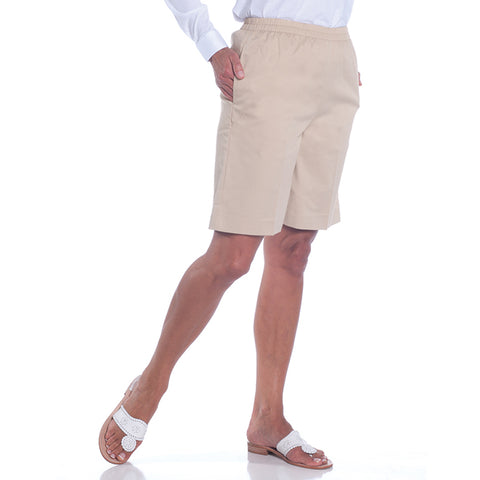 Stretch Twill Pull-On Shorts</br>Sand S50 - Leonlevin