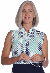 Sleeveless Print Ladies Polo Shirt</br>Dot Matrix 15B - Leonlevin