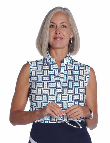 Sleeveless Print Ladies Polo Shirt</br>Hey Sailor 15G - Leonlevin