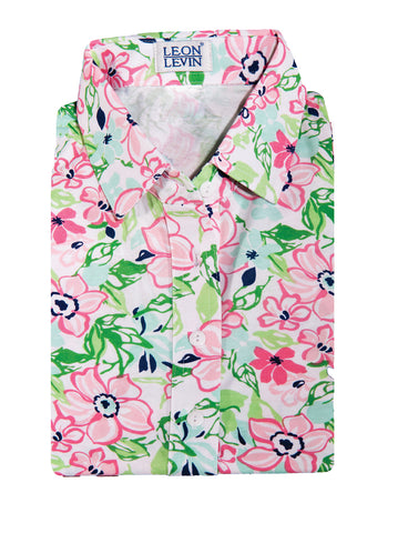 Sleeveless Print Ladies Polo Shirt</br>Floral Float 10W - Leonlevin