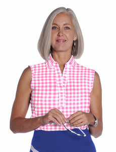 Sleeveless Print Ladies Polo Shirt</br>Check It Out 09W - Leonlevin