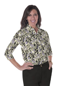 Ladies Three Quarter Sleeve Print Polo Shirts</br>Palm Reader 02F