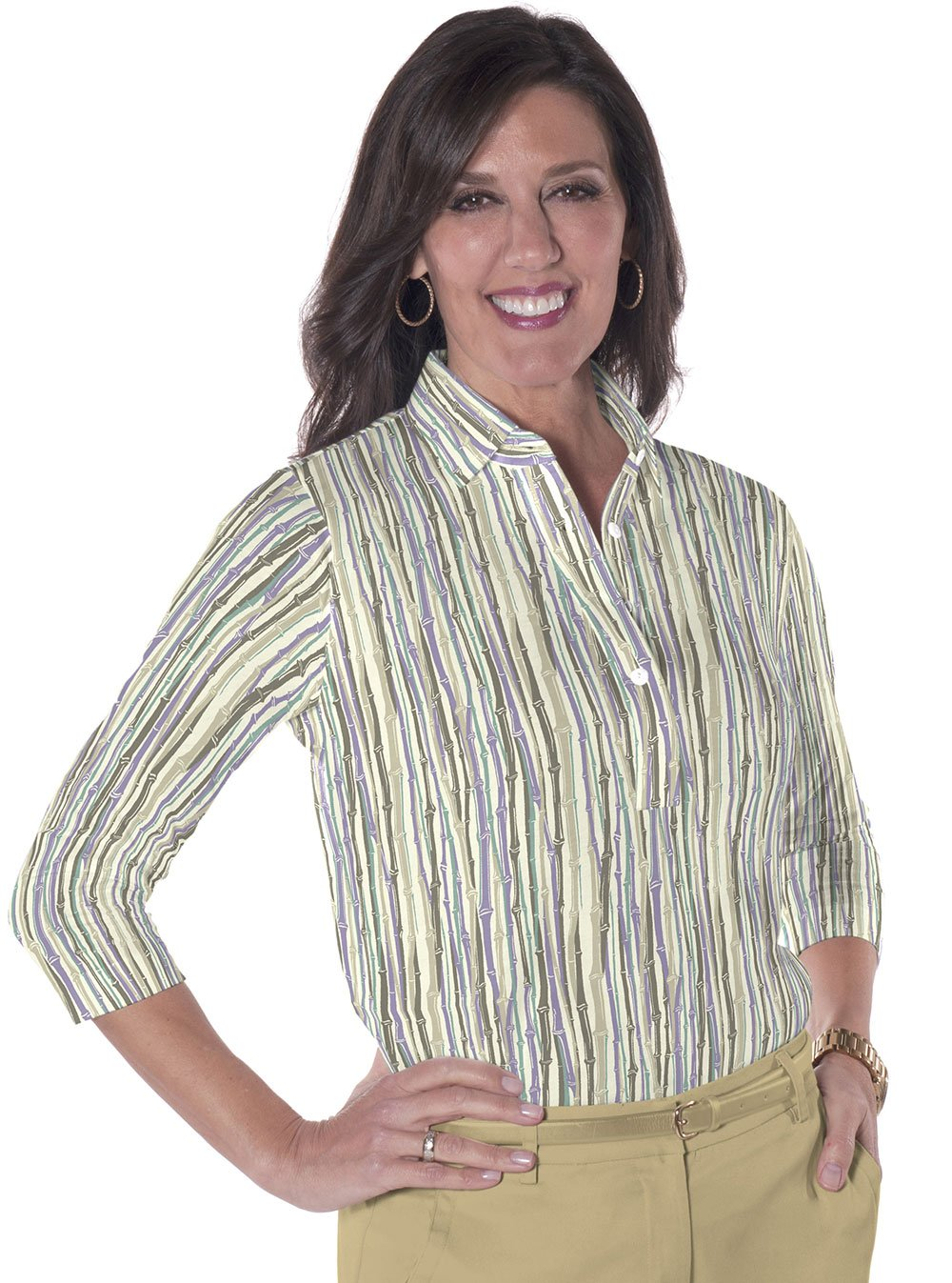 Ladies Three Quarter Sleeve Print Polo Shirts</br>Bamboo You 02A