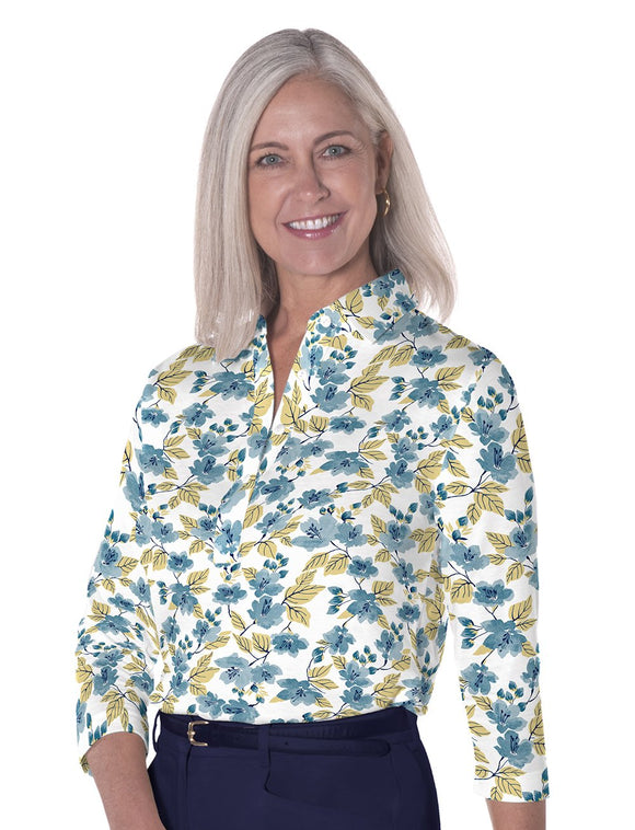 Ladies Three Quarter Sleeve Print Polos-br-One Fine Day 04L
