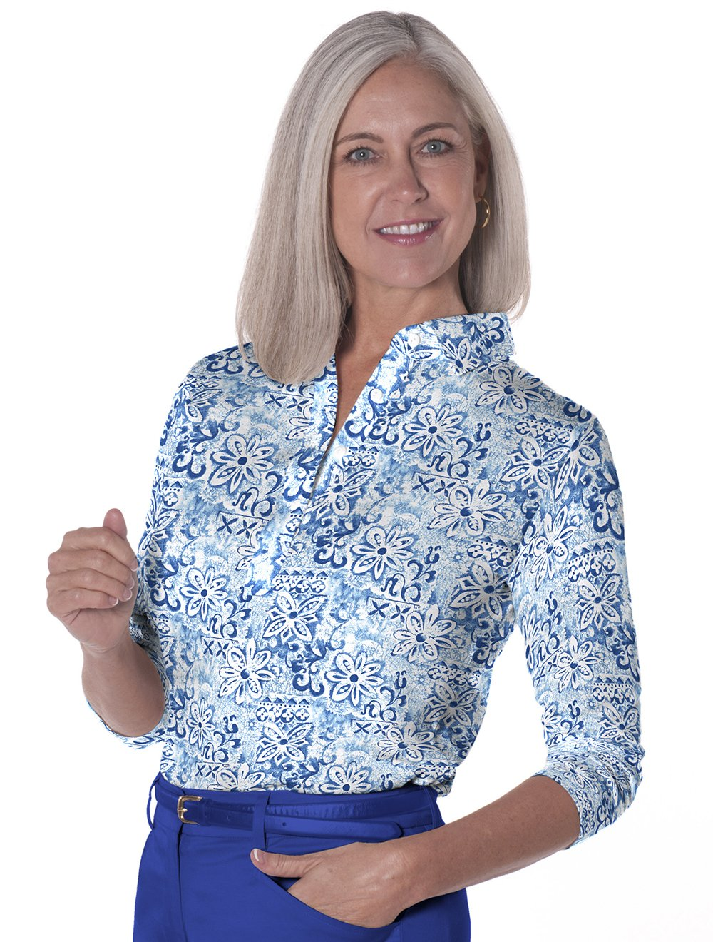 Three Quarter Sleeve Print Polo</br>Batik Floral 05E
