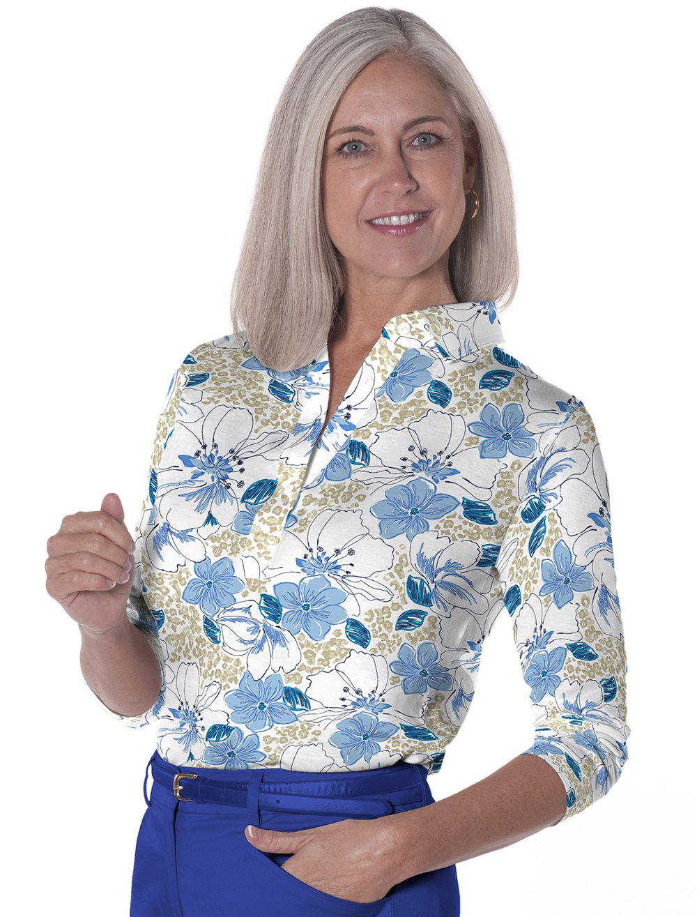 Three Quarter Sleeve Print Polo Force of Nature 05G