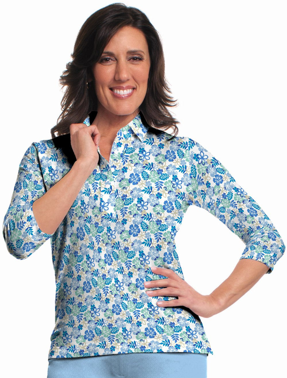 Three Quarter Sleeve Print Polo</br>A Place in the Sun 05J
