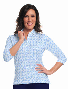 Three Quarter Sleeve Print Polo Lattice 05P - Leonlevin