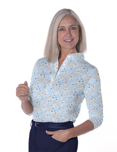 Three Quarter Sleeve Print Polo Shirts - SALE!</br>Sweet Serenade 05R