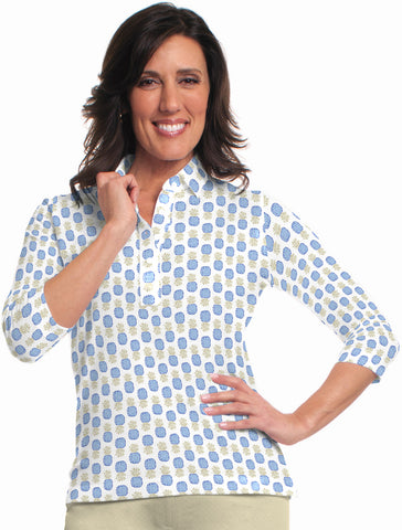 Three Quarter Sleeve Print Polo Tutti Frutti 05A - Leonlevin