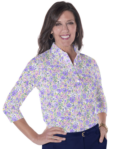 Three Quarter Sleeve Print Polo Ocean Rose 07D