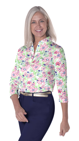 Three Quarter Sleeve Print Polo | Floral Float 07E