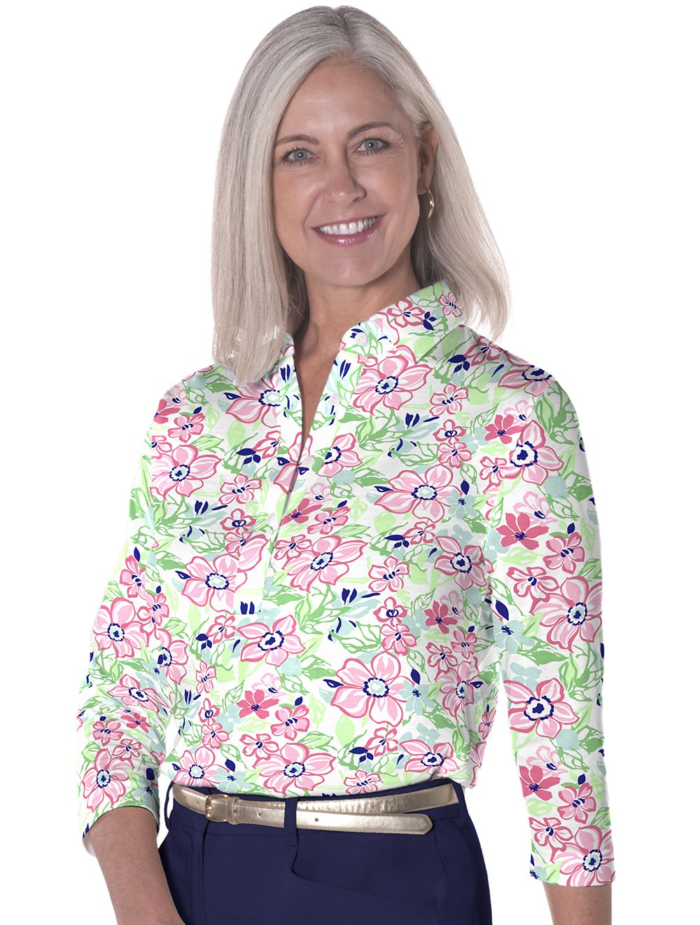 Three Quarter Sleeve Print Polo Floral Float 10W - Leonlevin