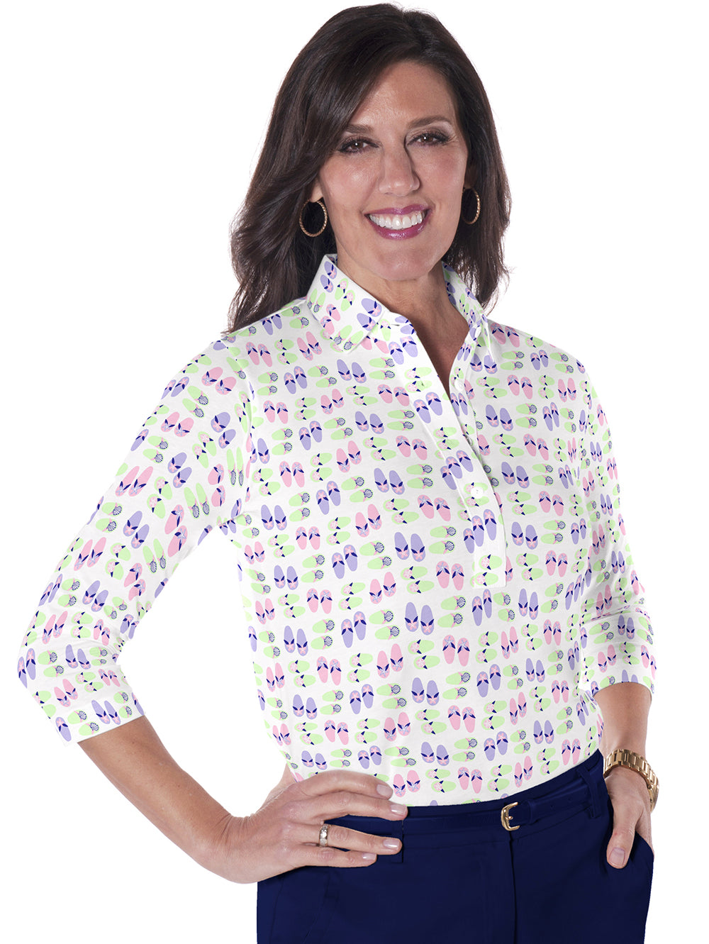 Three Quarter Sleeve Print Polo </br>Flip Out 07J