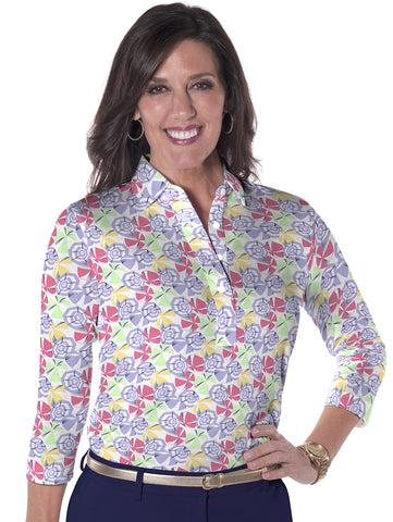 Three Quarter Sleeve Print Polo Parisol Party 07K