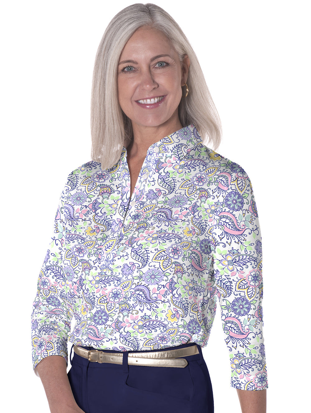 Three Quarter Sleeve Print Polo Cool Breeze 07L - Leonlevin