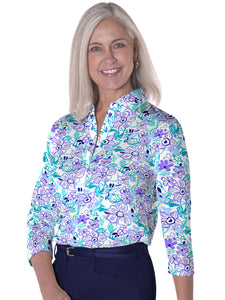 Three Quarter Sleeve Print Polos Flower Fling 08G