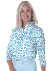 Three Quarter Sleeve Print Polo Star Gazer 08o