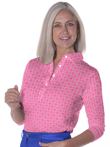 Three Quarter Sleeve Print Polo | Chainette 09B