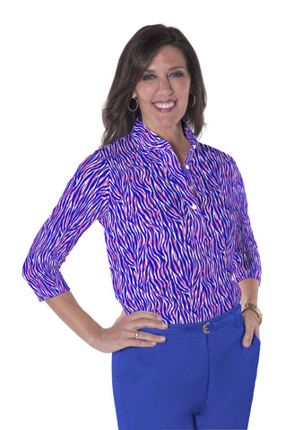 Three Quarter Sleeve Print Polo | Wild About You 09J - Leonlevin