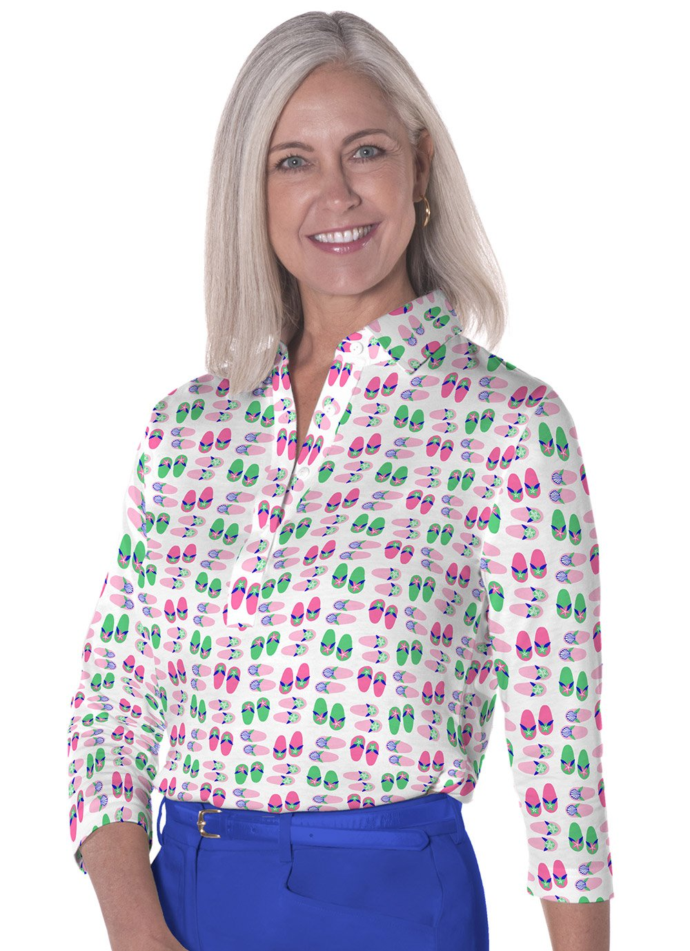 Three Quarter Sleeve Print Polo </br>Flip Out 09M
