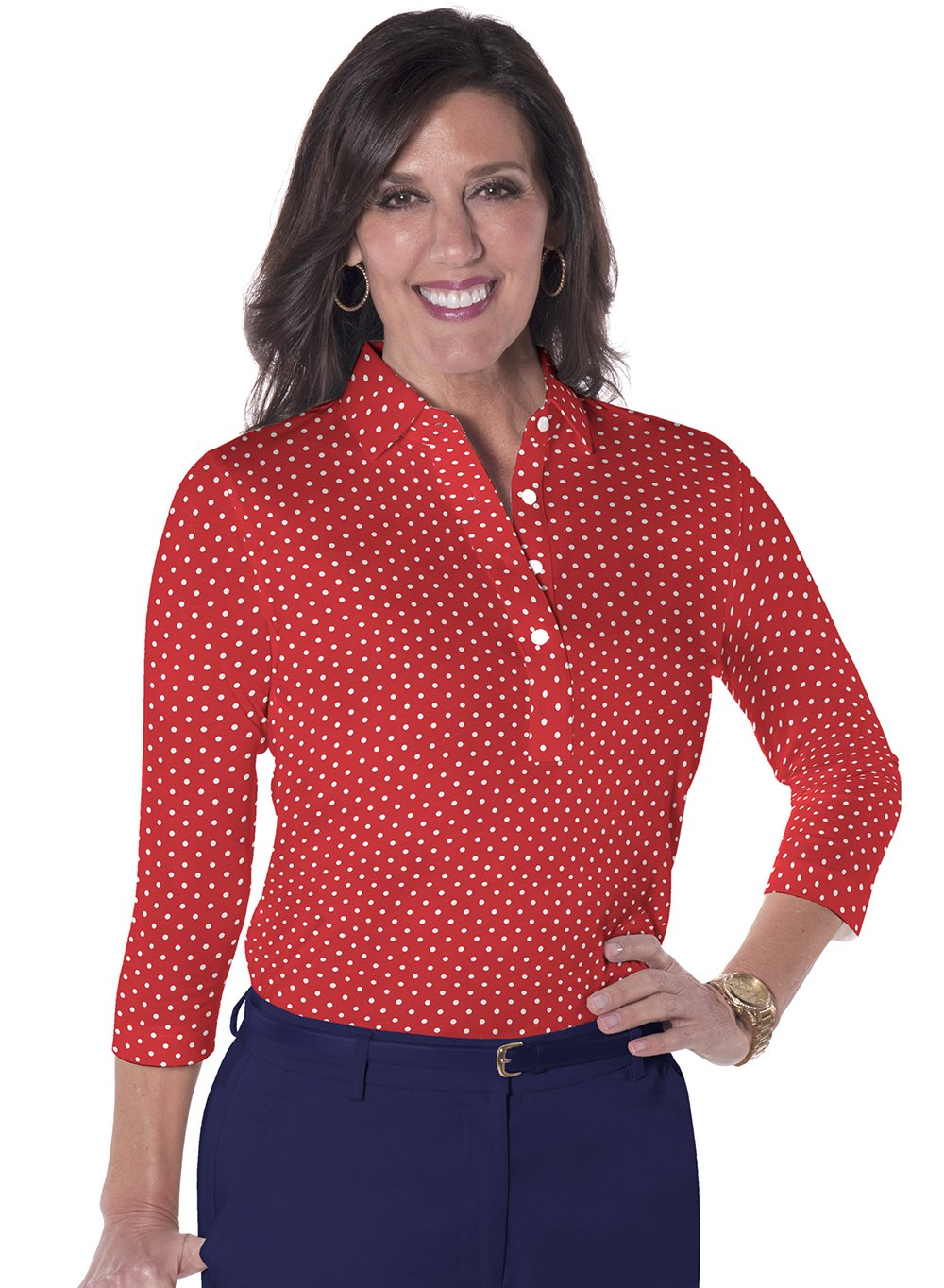 Three Quarter Sleeve Print Polo</br>Dot to Dot 10A