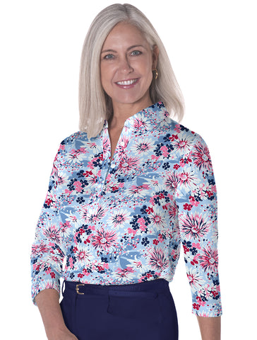 Three Quarter Sleeve Print Polo | Daisy Dash 10D