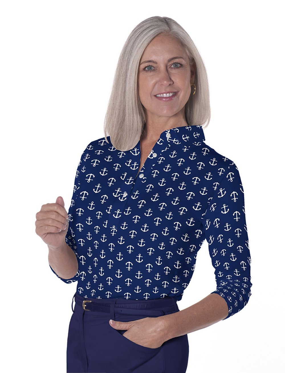 Three Quarter Sleeve Print Polo Ahoy Matey 10E